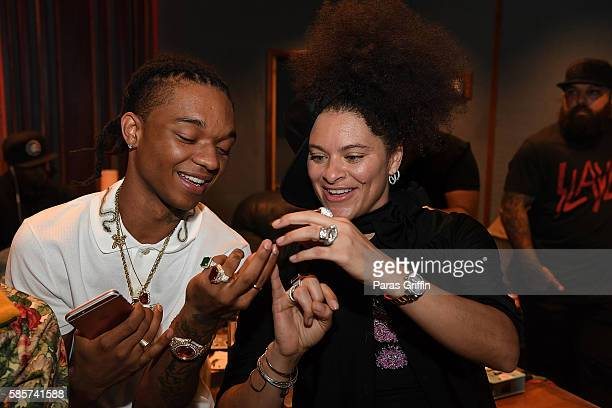 Rapper Swae Lee of Rae Sremmurd and Mali Hunter attend 'SremmLife 2' private listening session at TreeSound Studios on August 3 2016 in Norcross...