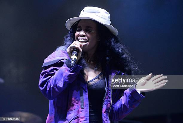 Rapper SZA performs onstage during the 5th annual Camp Flog Gnaw Festival at Exposition Park on November 12 2016 in Los Angeles California