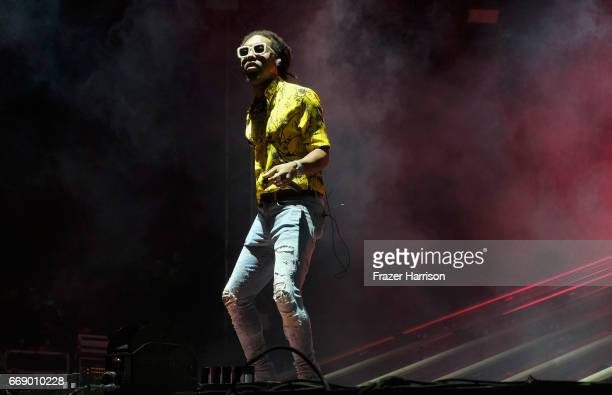 Rapper Takeoff of Migos performs at the Outdoor Stage during day 2 of the Coachella Valley Music And Arts Festival at the Empire Polo Club on April...