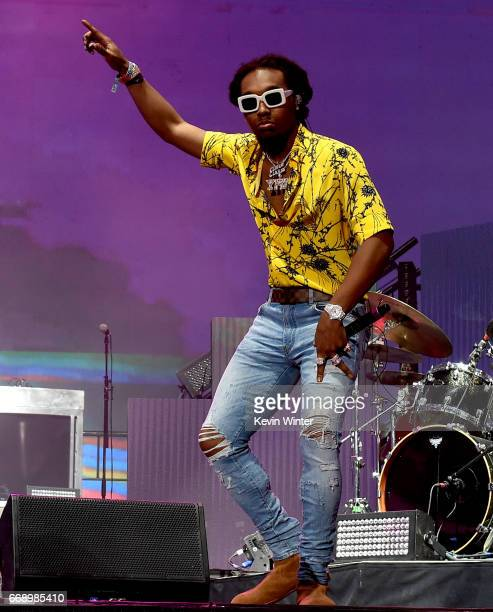 Rapper Takeoff of Migos performs on the Coachella Stage during day 2 of the Coachella Valley Music And Arts Festival at the Empire Polo Club on April...