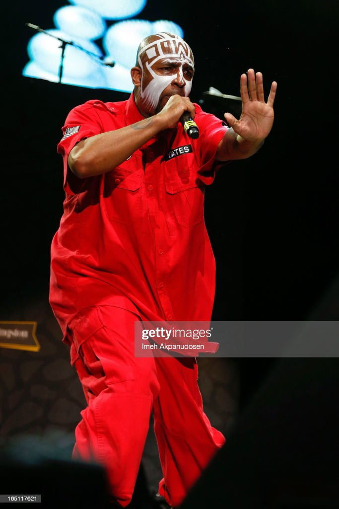 Rapper Tech N9ne performs onstage during the 2013 Paid Dues Independent Hip Hop Festival at San Manuel Amphitheater on March 30, 2013 in San Bernardino, California.
