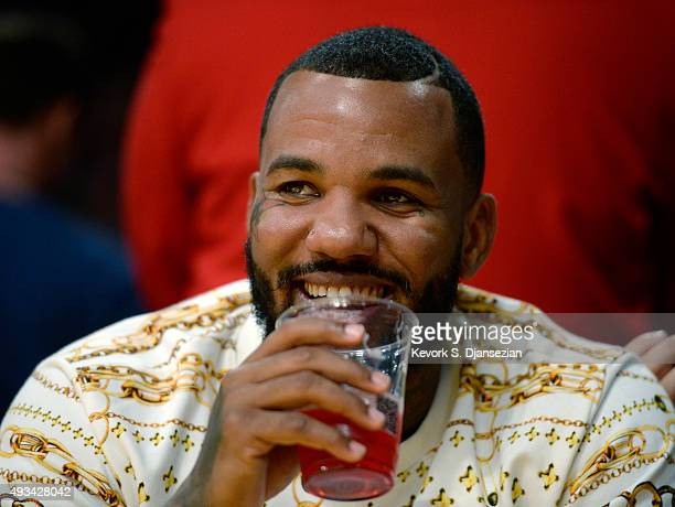 Rapper The Game attends Portland Trail Blazers and Los Angeles Lakers preseason basketball game at Staples Center October 19 2015 in Los Angeles...