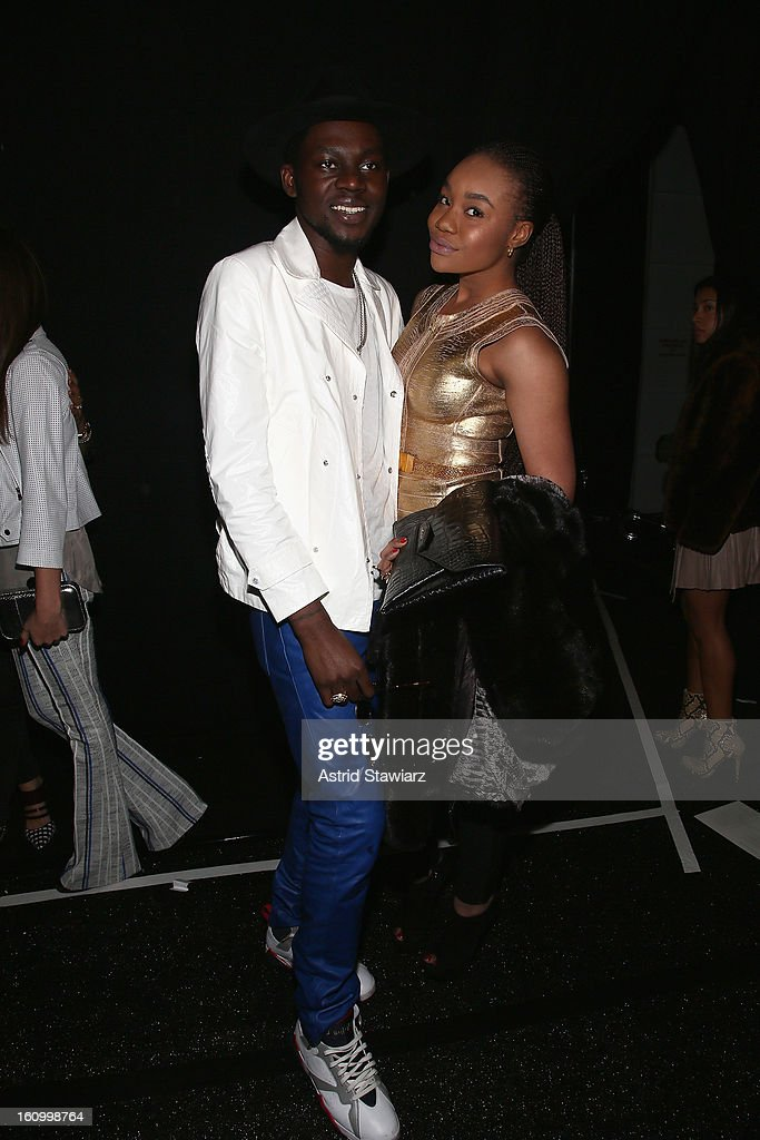 Rapper <a gi-track='captionPersonalityLinkClicked' href=/galleries/search?phrase=Theophilus+London&family=editorial&specificpeople=5770992 ng-click='$event.stopPropagation()'>Theophilus London</a> and guest pose backstage at the TRESemme At Rebecca Minkoff Fall 2013 fashion show during Mercedes-Benz Fashion Week at The Theatre at Lincoln Center on February 8, 2013 in New York City.