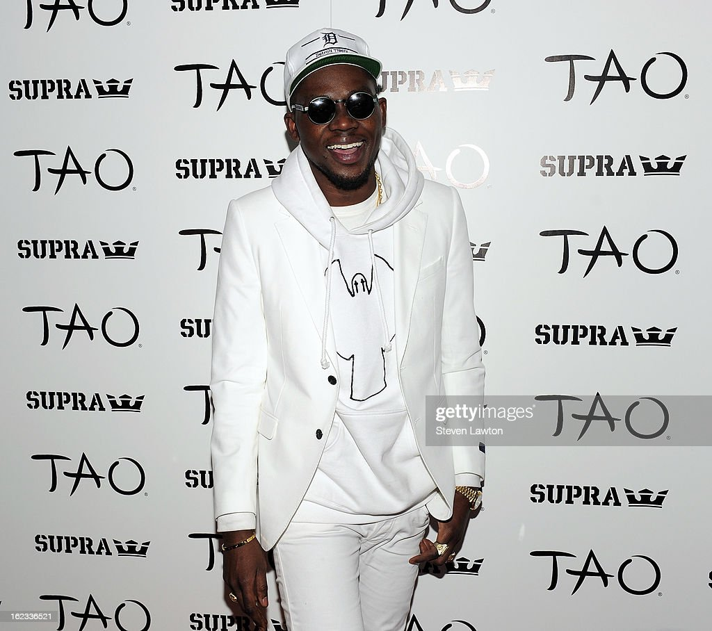 Rapper <a gi-track='captionPersonalityLinkClicked' href=/galleries/search?phrase=Theophilus+London&family=editorial&specificpeople=5770992 ng-click='$event.stopPropagation()'>Theophilus London</a> arrives at a Supra footwear party at the Tao Nightclub at The Venetian Resort Hotel Casino on February 21, 2013 in Las Vegas, Nevada.