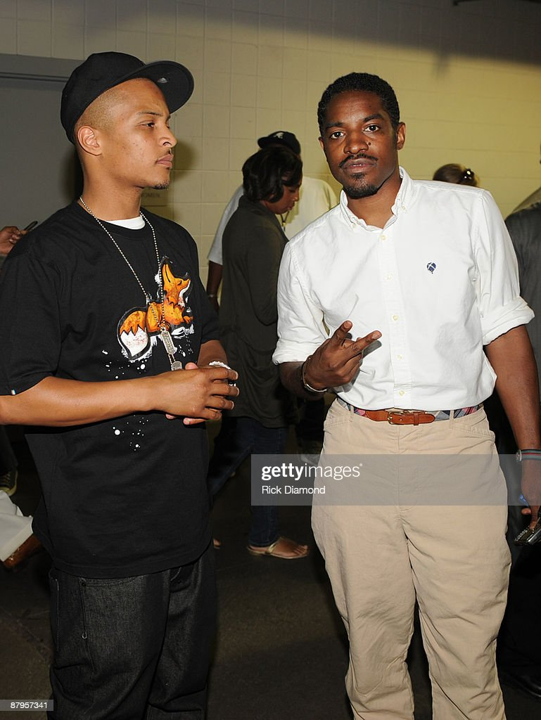 Rapper T.I. and Andre 3000 of OutKast backstage at the Philips Arena on May 24, 2009 in Atlanta, Georgia.