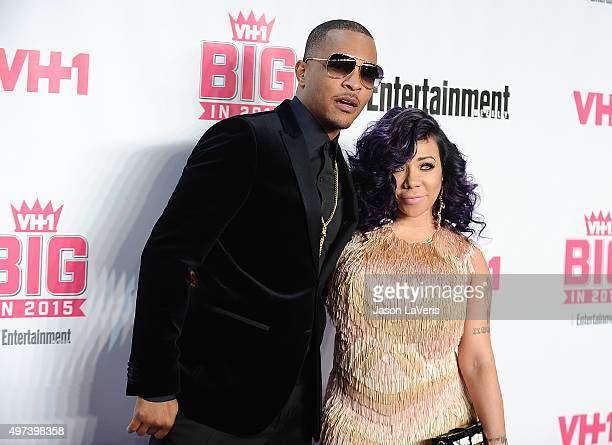 Rapper TI and Tameka 'Tiny' CottleHarris attend the VH1 Big In 2015 with Entertainment Weekly Awards at Pacific Design Center on November 15 2015 in...
