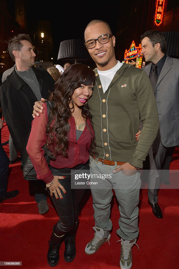 Rapper T.I. (R) and Tiny arrives at the 'Gangster Squad' premiere at Grauman's Chinese Theatre on January 7, 2013 in Hollywood, California.