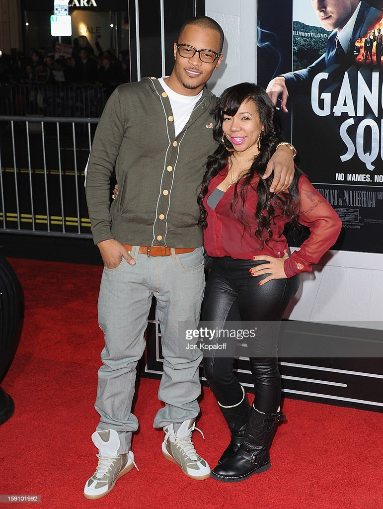 Rapper T.I. and wife Tameka 'Tiny' Cottle arrive at the Los Angeles Premiere 'Gangster Squad' at Grauman's Chinese Theatre on January 7, 2013 in Hollywood, California.