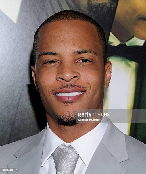 Rapper TI arrives at the premiere of Screen Gems' 'Takers' at the Arclight Cinerama Dome on August 4 2010 in Hollywood California