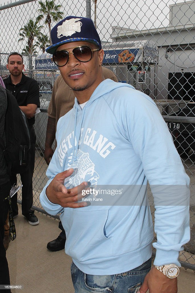Rapper, <a gi-track='captionPersonalityLinkClicked' href=/galleries/search?phrase=T.I.&family=editorial&specificpeople=221599 ng-click='$event.stopPropagation()'>T.I.</a> (Clifford Joseph Harris, Jr ) at Daytona 500 at Daytona International Speedway on February 24, 2013 in Daytona Beach, Florida.