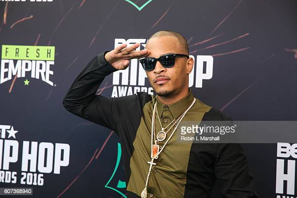 Rapper TI attends the BET Hip Hop Awards at Cobb Energy Performing Arts Center on September 17 2016 in Atlanta Georgia