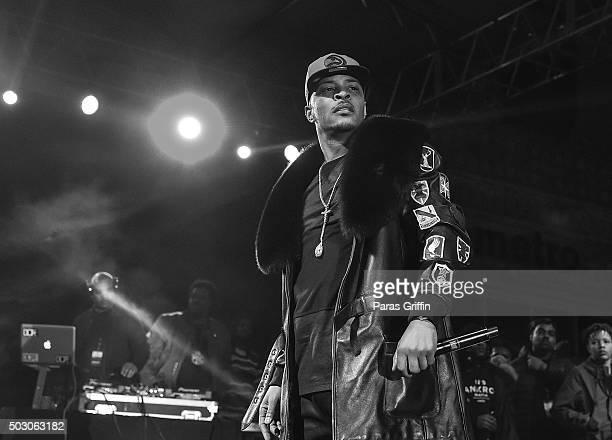 Rapper TI performs onstage at Peach Drop 2016 at Underground Atlanta on December 31 2015 in Atlanta Georgia