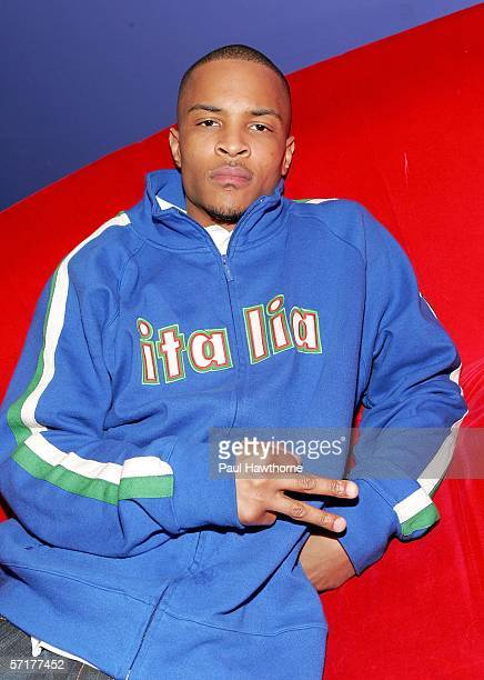 Rapper TI poses for a photo backstage at MTV studios before taping of MTV2 Presents Sucker Free Sunday event with TI March 24 2006 in New York City