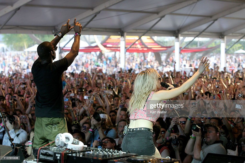 Rapper Tinie Tempah (aka Patrick Chukwuemeka Okogwu) and singer Ellie Goulding perform during Day 3 of the Coachella Valley Music & Arts Festival 2011 held at the Empire Polo Club on April 17, 2011 in Indio, California.