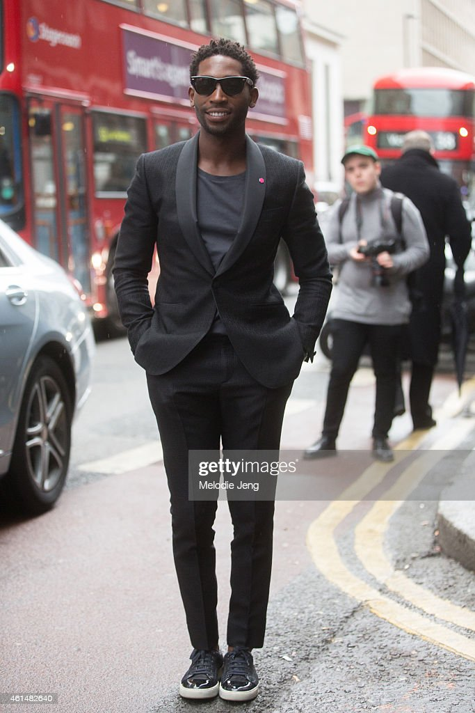 Rapper <a gi-track='captionPersonalityLinkClicked' href=/galleries/search?phrase=Tinie+Tempah&family=editorial&specificpeople=6742538 ng-click='$event.stopPropagation()'>Tinie Tempah</a> at the London Collections: Men AW15 at on January 10, 2015 in London, England.
