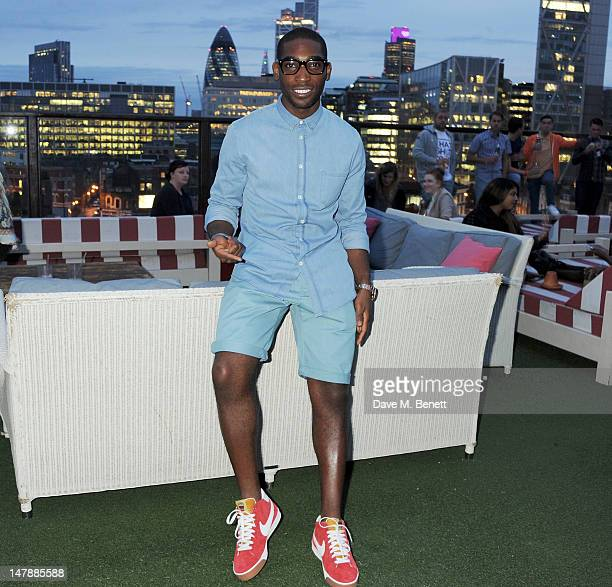 Rapper Tinie Tempah launches his Disturbing London x Nike Blazer at Shoreditch House on July 5 2012 in London England