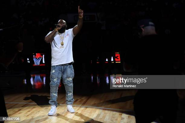 Rapper Trae tha Truth performs during week six of the BIG3 three on three basketball league at American Airlines Center on July 30 2017 in Dallas...