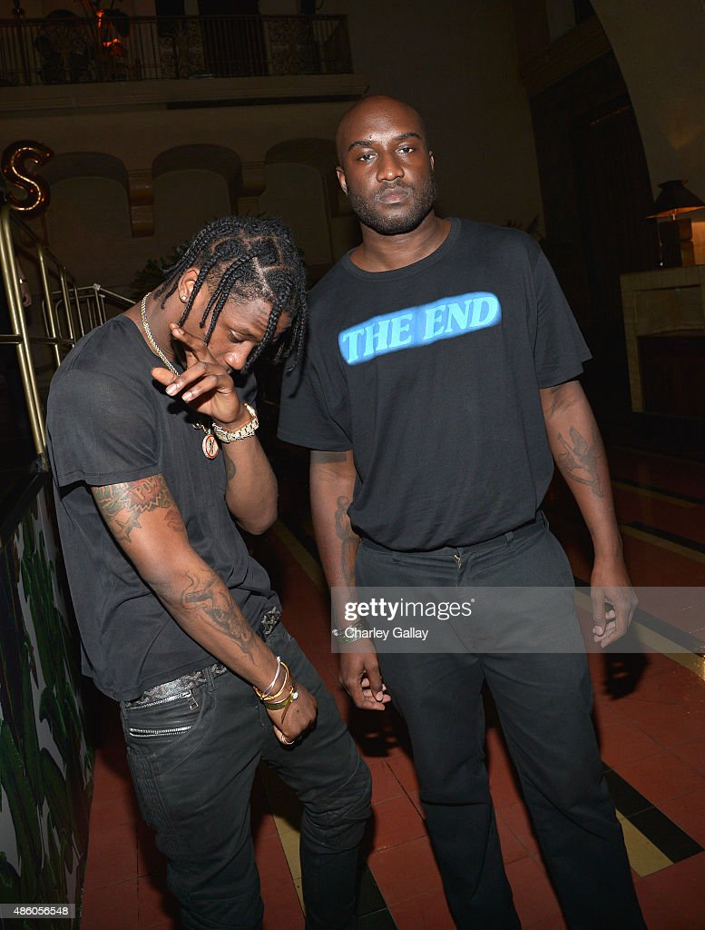 Rapper Travis Scott and DJ <a gi-track='captionPersonalityLinkClicked' href=/galleries/search?phrase=Virgil&family=editorial&specificpeople=78328 ng-click='$event.stopPropagation()'>Virgil</a> Abloh attend the Jeremy Scott and adidas Originals VMA's After Party with Spirits Sponsored By Svedka Vodka at Union Station on August 30, 2015 in Los Angeles, California.
