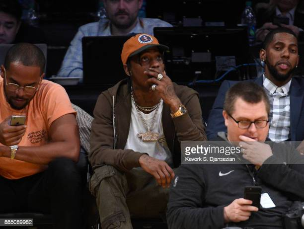Rapper Travis Scott attends the Houston Rockets and Los Angeles Lakers basketball game at Staples Center December 3 2017 in Los Angeles California
