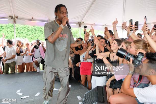 Rapper Travis Scott celebrates #REVOLVEintheHamptons Close Out Party with Moet Chandon on July 22 2017 in Bridgehampton New York