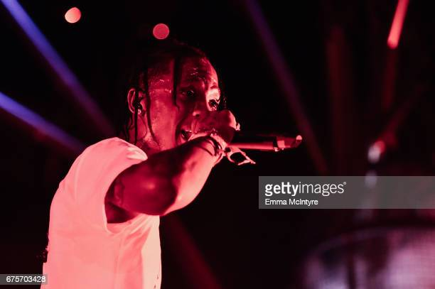 Rapper Travis Scott performs at the Outdoor Theatre during day 1 of the 2017 Coachella Valley Music Arts Festival at the Empire Polo Club on April 21...