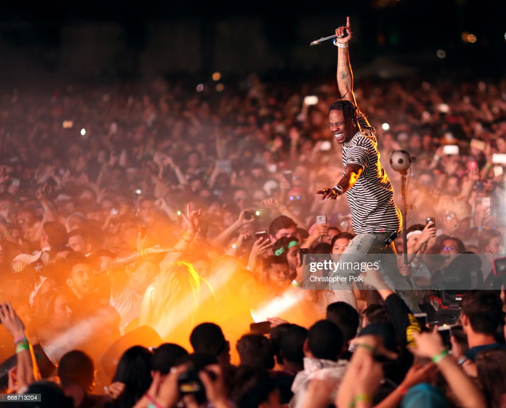Rapper Travis Scott performs on the Outdoor Stage during day 1 of the Coachella Valley Music And Arts Festival (Weekend 1) at the Empire Polo Club on April 14, 2017 in Indio, California.