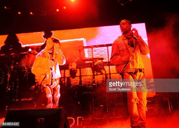 Rapper Travis Scott performs onstage during the Day N Night Festival at Angel Stadium of Anaheim on September 8 2017 in Anaheim California