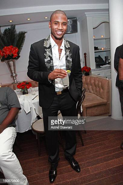 Rapper Trey Songz attends Grey Goose Cherry Noir's Trey Songz album release party in NYC at Bagatelle on August 21 2012 in New York City