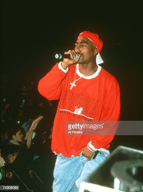 Rapper Tupac Shakur performs 'Out on Bail' onstage at the Paramount Theater during the first Source Awards on April 25 1994 in New York City New York