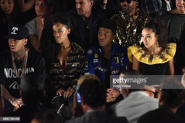 Rapper Tyga Actress Serayah McNeill Actor Yazz and Singer Tinashe attend Jeremy Scott Spring 2016 during New York Fashion Week The Shows at The Arc...