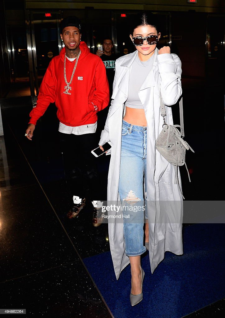 Rapper Tyga and Kylie Jenner are seen arriving at 'JFK'on October 29 2015 in New York City