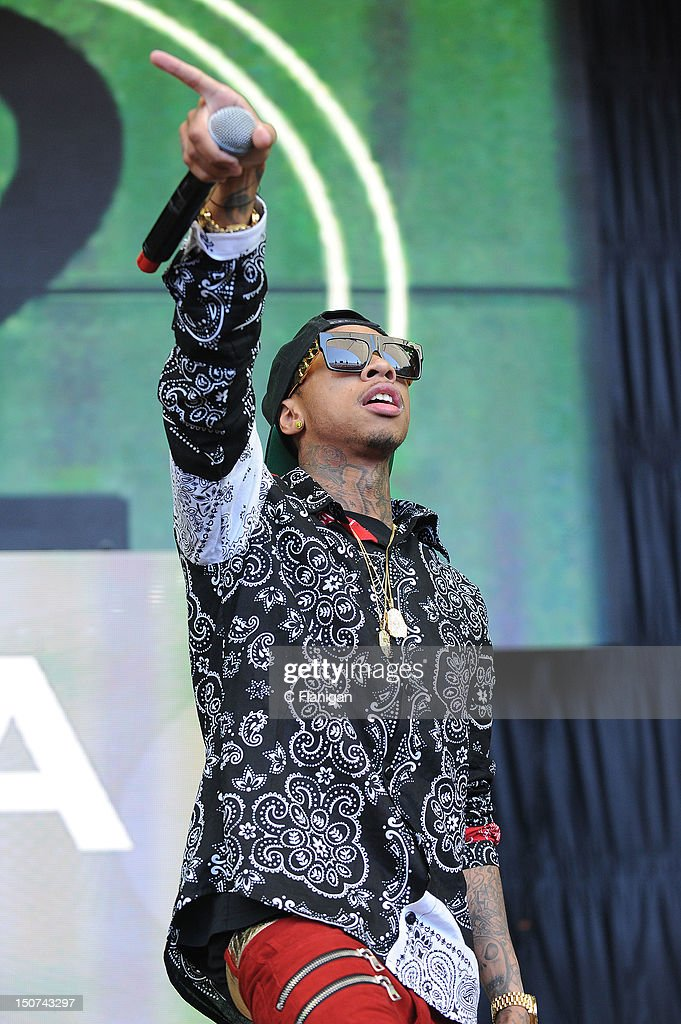 Rapper TYGA performs during the 2012 Boost Mobile & Guerilla Union Rock the Bells Music Festival powered by Blackberry at Shoreline Amphitheatre on August 25, 2012 in Mountain View, California.