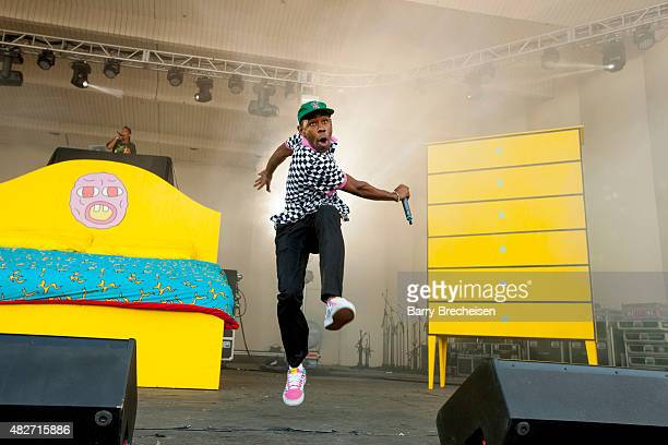Rapper Tyler Gregory Okonma aka Tyler The Creator performs during 2015 Lollapalooza Day Two at Grant Park on August 1 2015 in Chicago Illinois