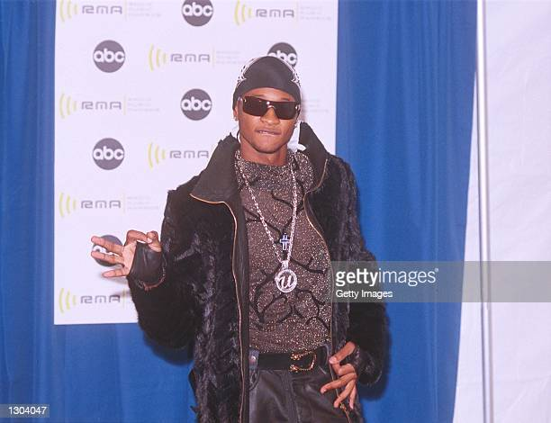 Rapper Usher poses for photographers backstage at the 2000 Radio Music Awards at the Alladin Hotel November 4 2000 in Las Vegas NV