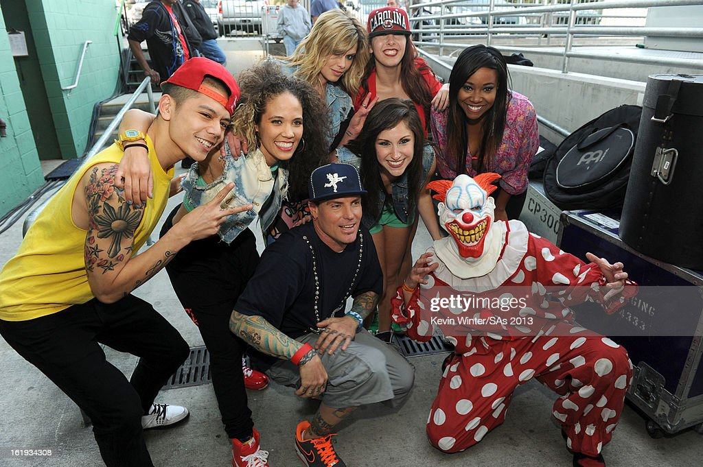 Rapper Vanilla Ice (C) and dancers attend the 3rd Annual Streamy Awards at Hollywood Palladium on February 17, 2013 in Hollywood, California.