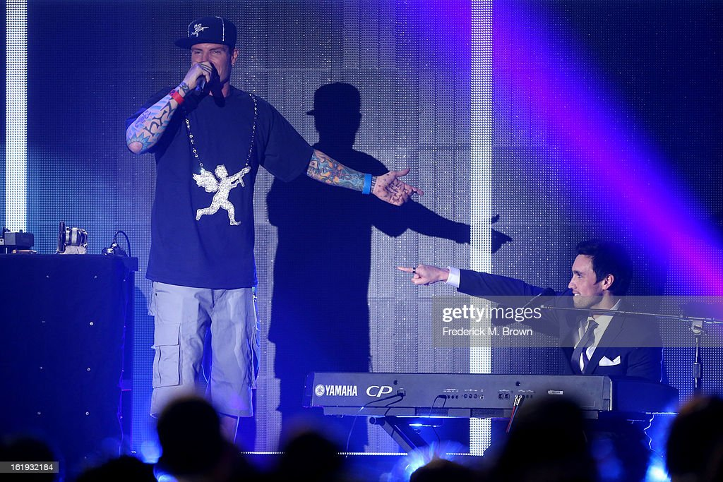 Rapper Vanilla Ice (L) and musician Chester See perform onstage at the 3rd Annual Streamy Awards at Hollywood Palladium on February 17, 2013 in Hollywood, California.