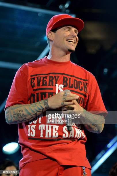 Rapper Vanilla Ice performs onstage at the State Farm AllStar Saturday Night during the NBA AllStar Weekend 2014 at The Smoothie King Center on...