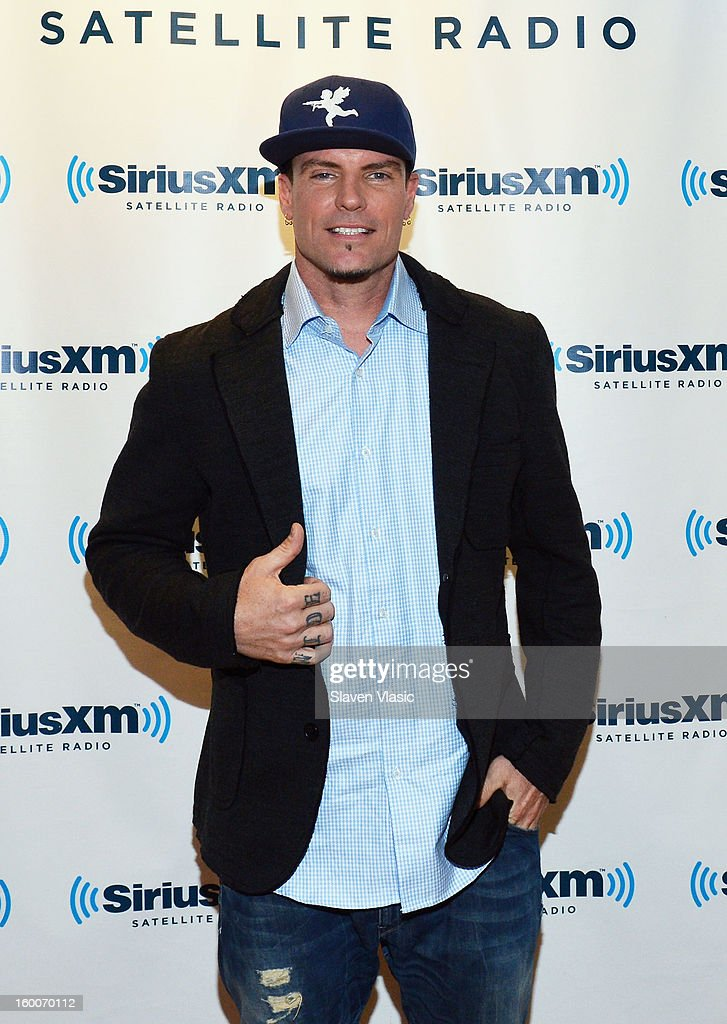 Rapper Vanilla Ice visits SiriusXM Studios on January 25, 2013 in New York City.