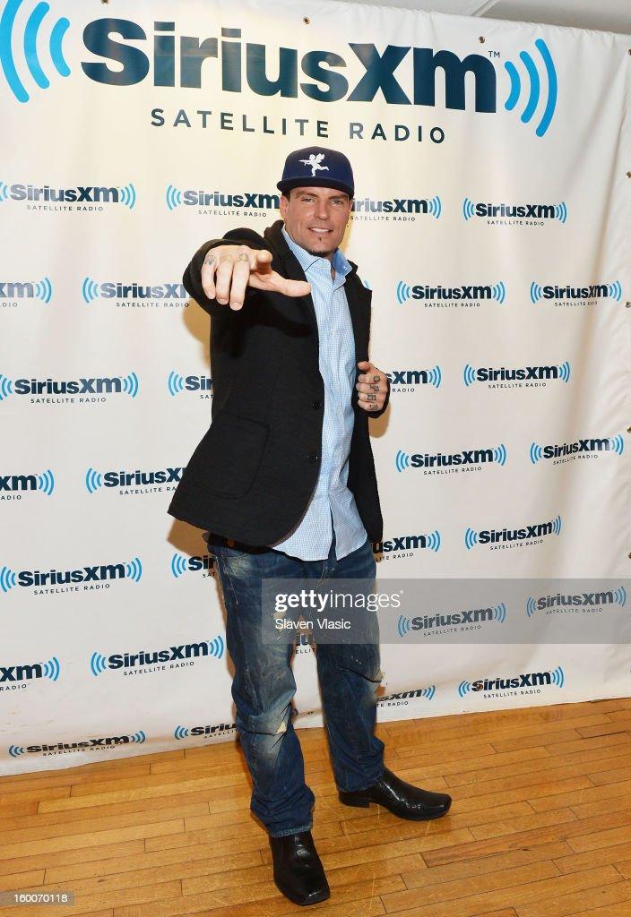 Rapper Vanilla Ice visits SiriusXM Studios on January 25, 2013 in New York City.