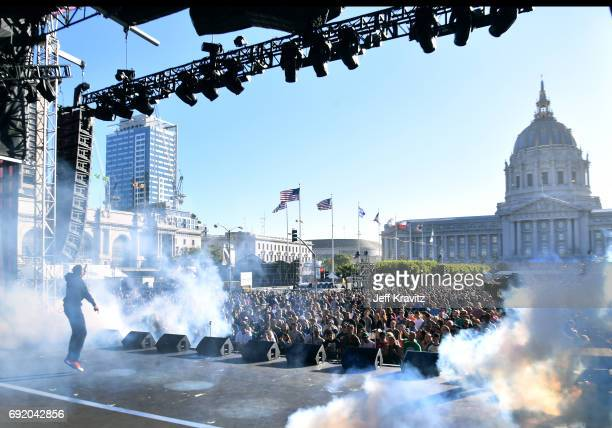 Rapper Vince Staples performs at the Colossal Stage during Colossal Clusterfest at Civic Center Plaza and The Bill Graham Civic Auditorium on June 3...