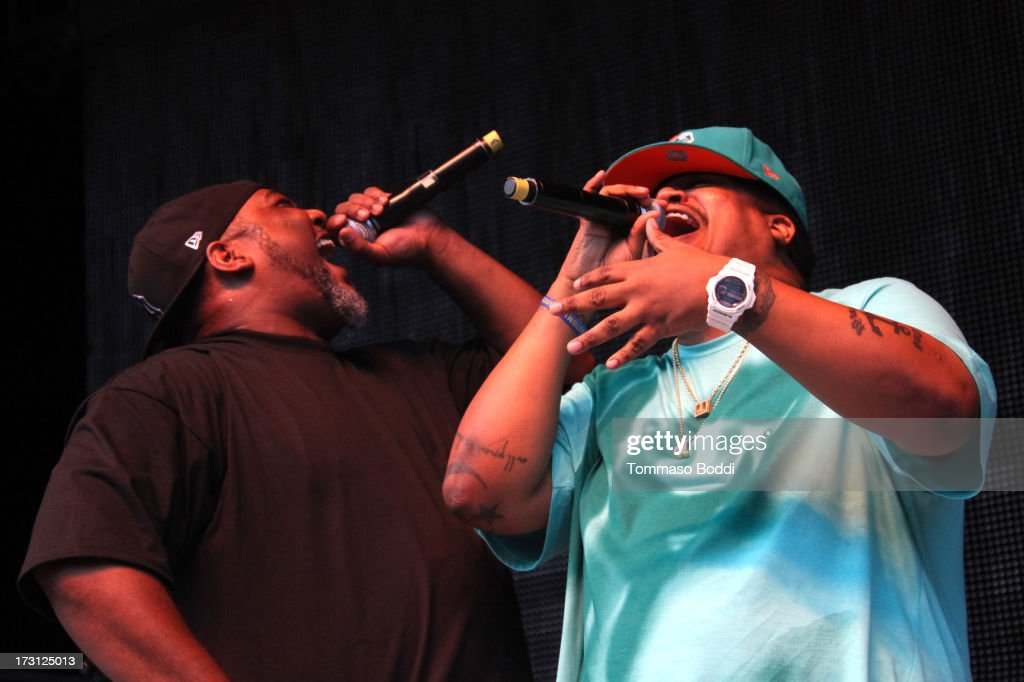 Rapper Vincent Mason (L) and David Jude Jolicoeur of De La Soul perform at the Kings Of The Mic Tour held at The Greek Theatre on July 7, 2013 in Los Angeles, California.