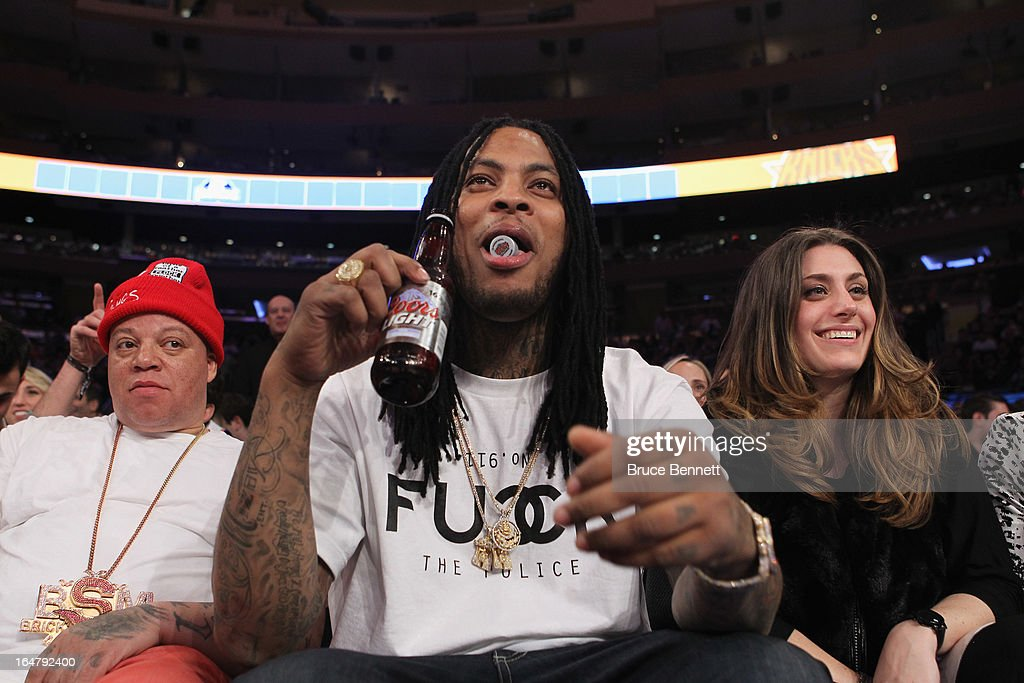 Rapper Waka Flocka attends the game between the New York Knicks and the Memphis Grizzlies at Madison Square Garden on March 27, 2013 in New York City. The Knicks defeated the Grizzlies 108-101.