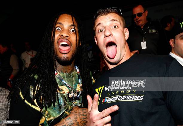 Rapper Waka Flocka Flame poses with New England Patriots tight end Rob Gronkowski prior to the 59th Annual DAYTONA 500 at Daytona International...