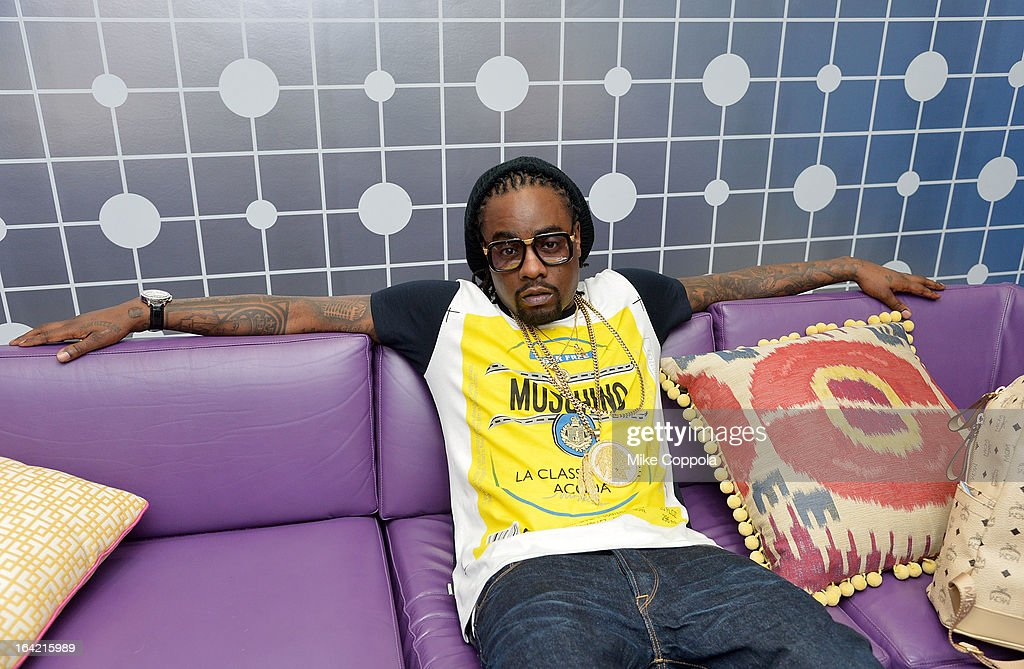 Rapper Wale is interviewed on BET's 106th & Park at 106 & Park Studio on March 20, 2013 in New York City.