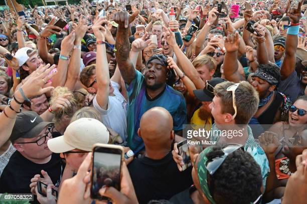 Rapper Wale performs from the crowd during the 2017 Firefly Music Festival on June 17 2017 in Dover Delaware