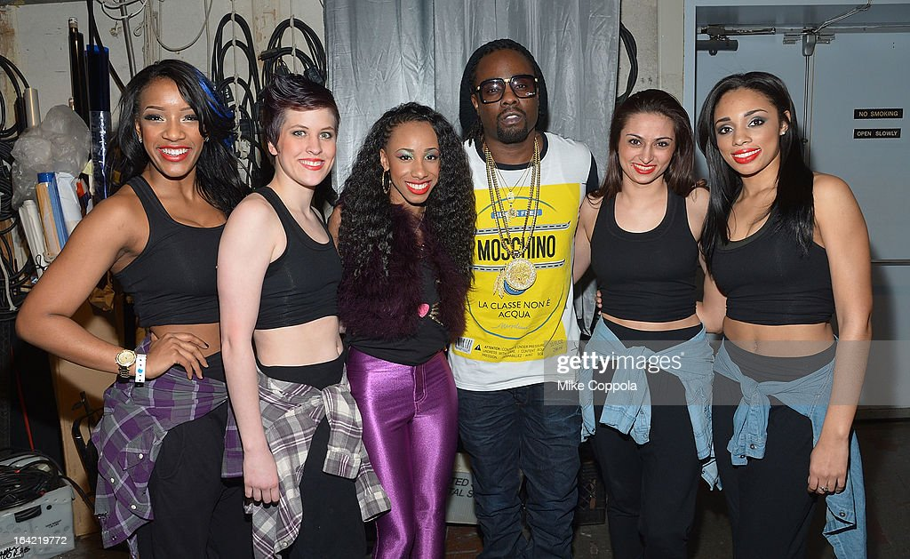 Rapper <a gi-track='captionPersonalityLinkClicked' href=/galleries/search?phrase=Wale+-+Rappeur&family=editorial&specificpeople=8770277 ng-click='$event.stopPropagation()'>Wale</a> (4 from L) poses for a picture with rap group Miss Cookie on BET's 106th & Park at 106 & Park Studio on March 20, 2013 in New York City.