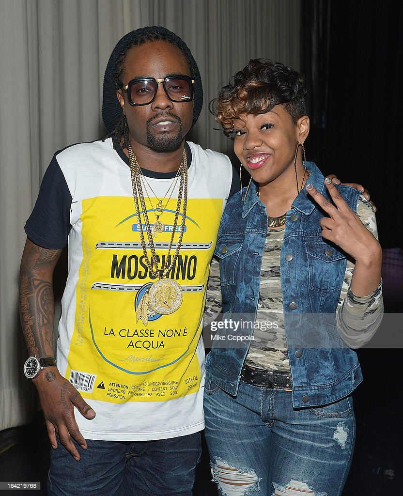 Rapper <a gi-track='captionPersonalityLinkClicked' href=/galleries/search?phrase=Wale+-+Rapper&family=editorial&specificpeople=8770277 ng-click='$event.stopPropagation()'>Wale</a> (L) poses for a picture with rapper Martina Lynch BET's 106th & Park at 106 & Park Studio on March 20, 2013 in New York City.