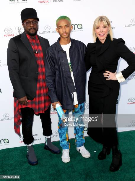 Rapper william actor Jaden Smith and EMA President Debbie Levin attend the 27th Annual EMA Awards at Barker Hangar on September 23 2017 in Santa...