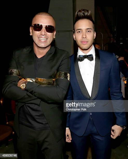 Rapper Wisin and singer Prince Royce attend the 15th Annual Latin GRAMMY Awards at the MGM Grand Garden Arena on November 20 2014 in Las Vegas Nevada