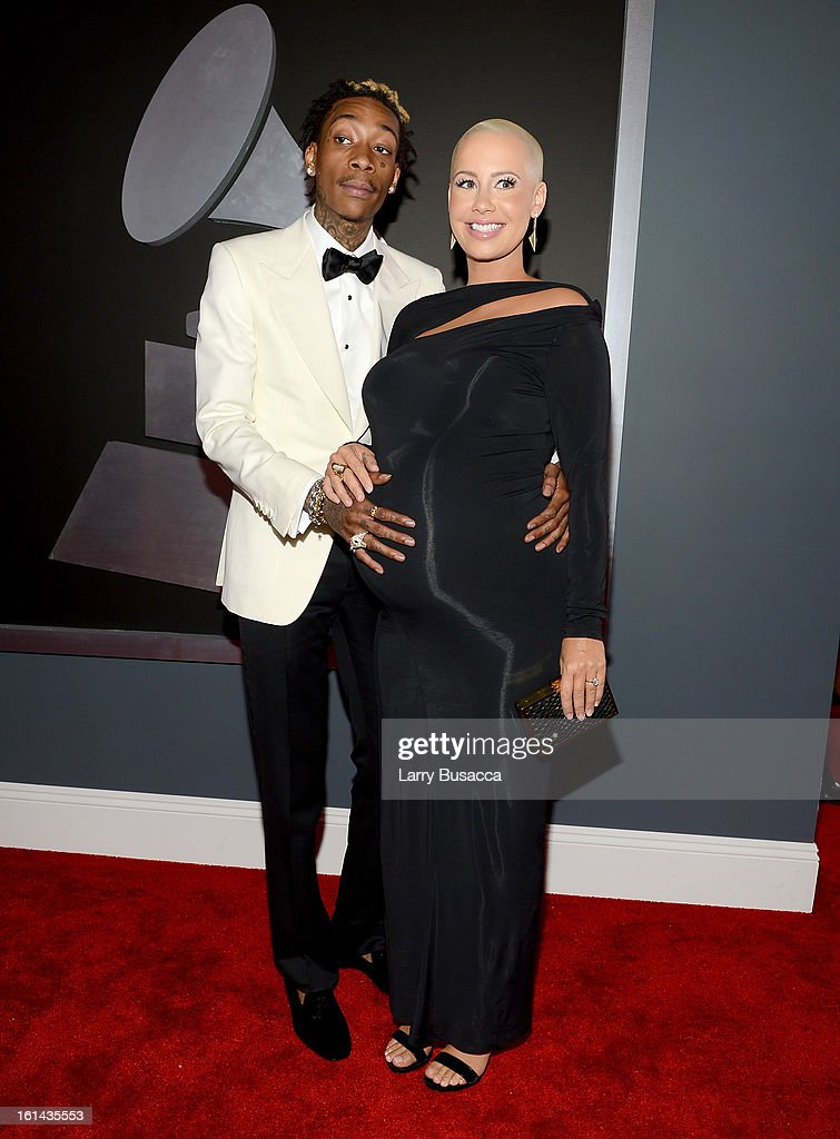 Rapper Wiz Khalifa (L) and actress/recording artist Amber Rose attend the 55th Annual GRAMMY Awards at STAPLES Center on February 10, 2013 in Los Angeles, California.